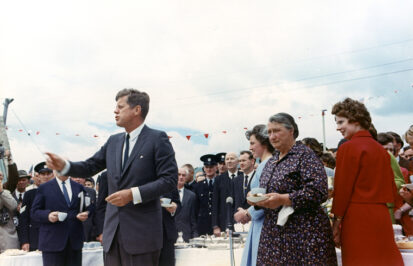 The President Greets Relatives At A Tea Held At The Home Of Mrs. Mary Ryan 413x266